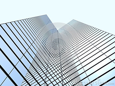 Skyskrapor med molnreflexion