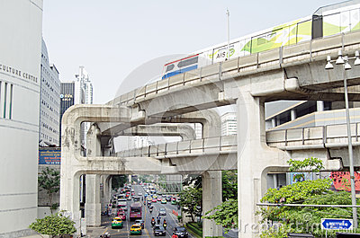 Skytrain, Siam Square, Banguecoque Foto de Stock Editorial