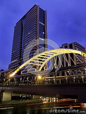 Skywalk with modern buildings, Bangkok