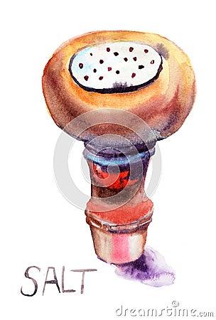 Sól, akwareli ilustracja