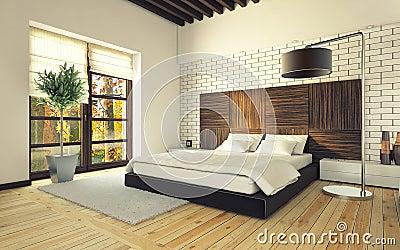 Slaapkamer met bakstenen muur