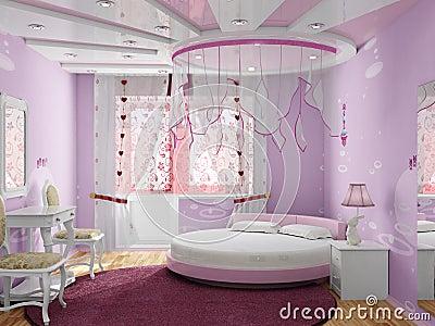 Slaapkamer voor het meisje stock afbeelding afbeelding 19321921 - Baby meisje slaapkamer foto ...