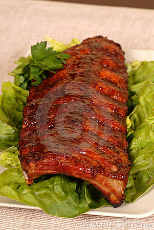 Free Slab Of Ribs On Lettuce Royalty Free Stock Photo - 2446235