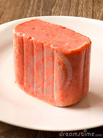 Slab of spam on a plate