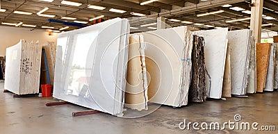 Slabs of granite in a storage warehouse