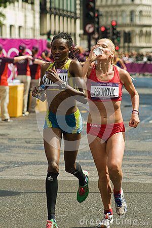 Sladana Perunovic + Lucia Kimani- Olympic Marathon Editorial Stock Photo