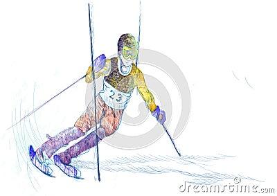 Slalom, skier