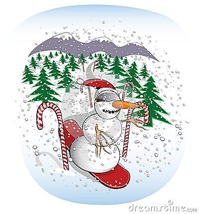 Slalom Snowboarding Snowman