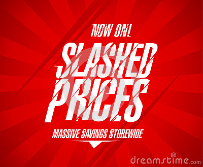 Slashed prices design.