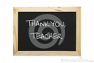 Slate with grateful message to teacher