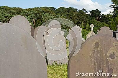 Slate gravestones.