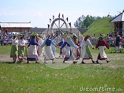 Slavic folk dancing Editorial Photo