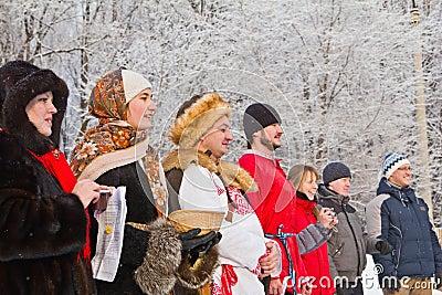 Slavic holiday-the Christmas carol: actors. Editorial Image