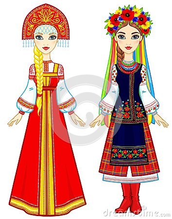 Slavic people. Animation portrait of the Russian and Ukrainian woman in traditional clothes. Eastern Europe. Fairy tale character Vector Illustration