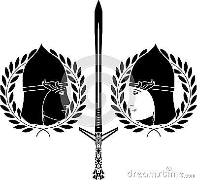 Slavonic warrior. stencil