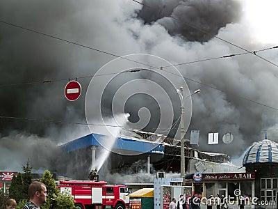 Slavyansky market explosion in Dnipropetrovsk Editorial Stock Image