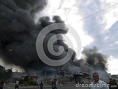 Slavyansky market explosion in Dnipropetrovsk Editorial Stock Photo