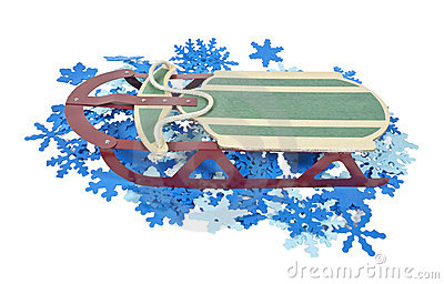 Sled on a Bed of Colorful Snowflakes