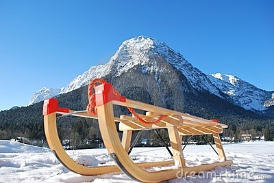 Sled in front of mountain