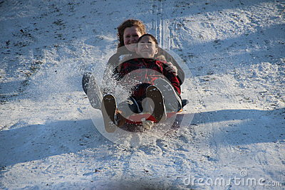Sledding in Central Park Editorial Stock Image