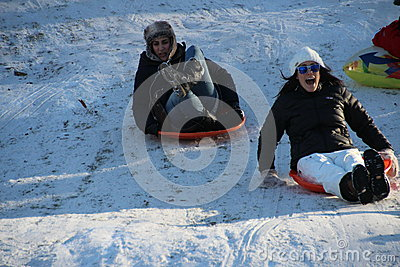 Sledding in Central Park Editorial Image