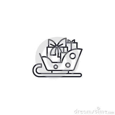 Sledge with gifts linear icon concept. Sledge with gifts line vector sign, symbol, illustration. Vector Illustration