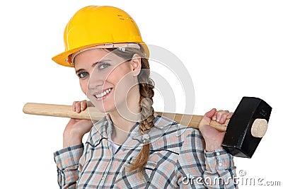 Sledge-hammer over shoulder