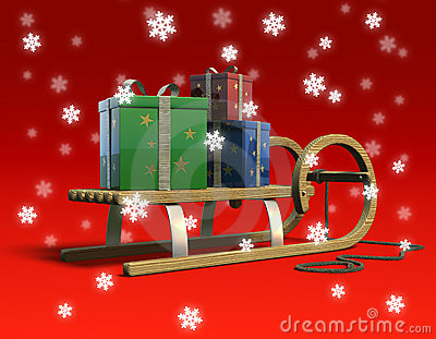 Sledge with presents and snow.
