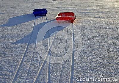Sleds on snow (2)