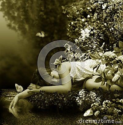 Free Sleep Near By Creek Stock Image - 9860631