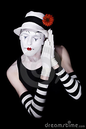 Sleep theatrical clown in a white hat