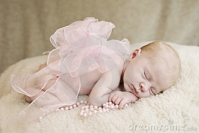 Sleeping Baby Girl with Bow