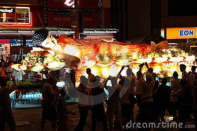 Sleeping buddha floats at Wesak Day Procession Editorial Stock Photo