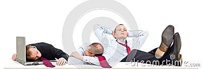 Sleeping businessmen