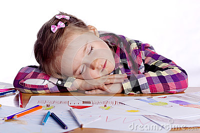 Sleeping child - an artist with sketch