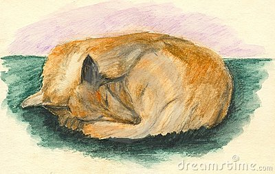 Sleeping collie dog. Watercolor
