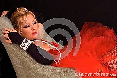 Sleeping costumed blonde