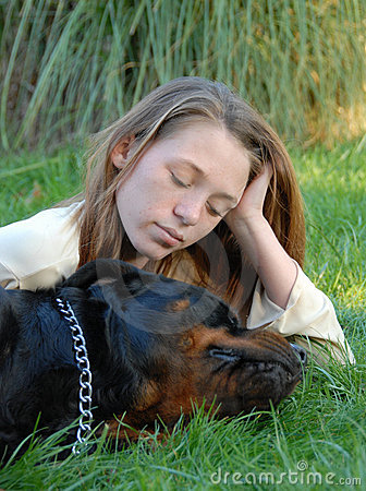 Sleeping dog and woman