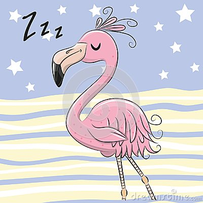 Free Sleeping Flamingo On A Blue And Yellow Background Royalty Free Stock Photos - 120309418