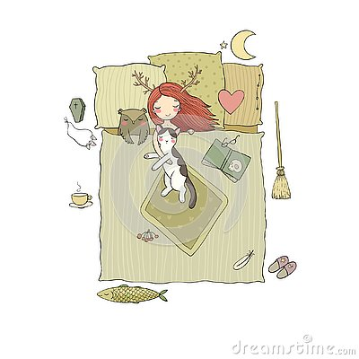 Free Sleeping Girl And Cat. Good Night. Sweet Dreams. Royalty Free Stock Photos - 127125788