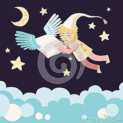 Sleeping Girl with Flying Pillow