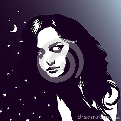 Free Sleeping Girl Portrait, Beautiful Dreaming Woman, Night Sky, Stars Stock Images - 80016334