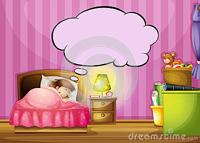 A sleeping girl and a speech bubble