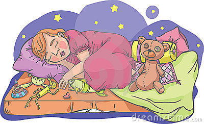 Sleeping girl with toys
