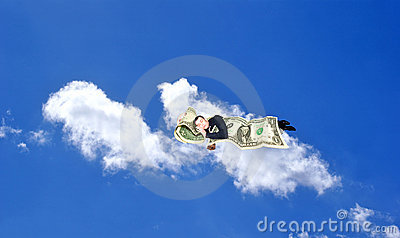 Sleeping upon heaven cloud businessman