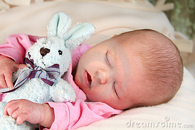 Sleeping infant and Bunny Rabbit