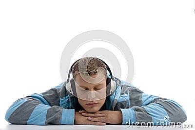 Sleeping man with headphone