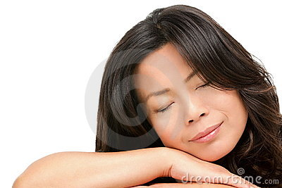 Sleeping mature middle aged Asian woman