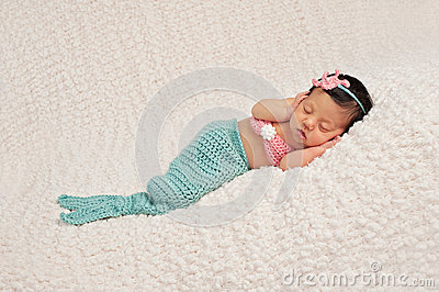 Sleeping Newborn Baby Girl in a Mermaid Costume