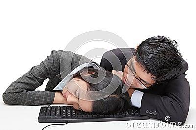 Sleeping office workers